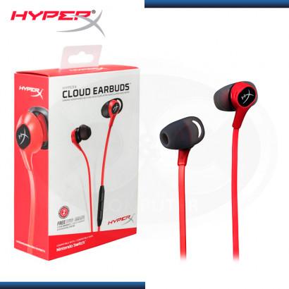 AUDIFONO HYPERX CLOUD EARBUDS CON MICROFONO BLACK RED (PN:HX-HSCEB-RD)