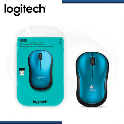MOUSE LOGITECH M185 AZUL NEGRO WIRELESS USB (PN:910-003636)