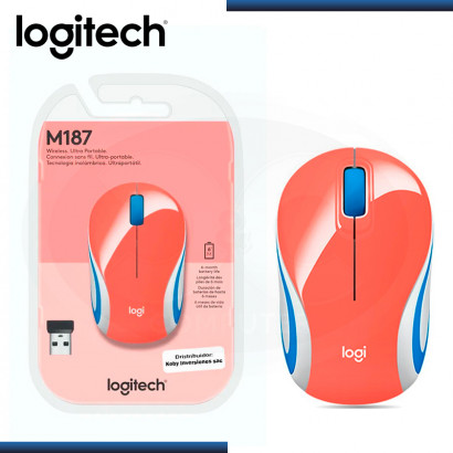 MOUSE LOGITECH M187 MINI REFRESH CORAL WIRELESS (PN:910-005362)