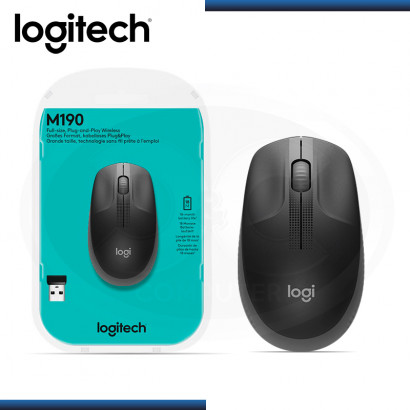 MOUSE LOGITECH M190 FULL-SIZE CHARCOAL WIRELESS (PN:910-005902)