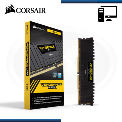 MEMORIA 8GB DDR4 CORSAIR VENGEANCE LPX BUS 2666MHz BLACK (PN:CMK8GX4M1A2666C16)
