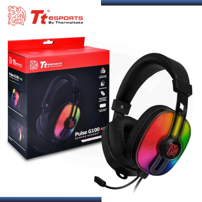 AUDIFONO TT ESPORTS PULSE G100 RGB GAMING CON MICROFONO (PN:HT-PLS-ANECBK-28)