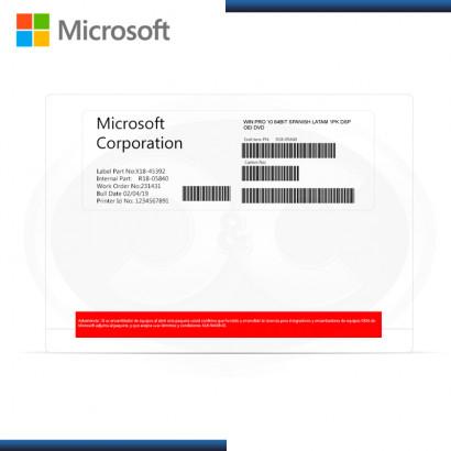MICROSOFT WINDOWS 10 PRO 64BITS SPANISH OEM (PN:FQC-08981)