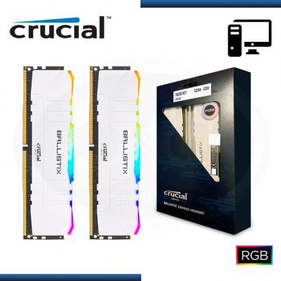MEMORIA 16GB DDR4 (2x8GB) CRUCIAL BALLISTIX RGB WHITE BUS 3200MHZ (PN:BL2K8G32C16U4WL)