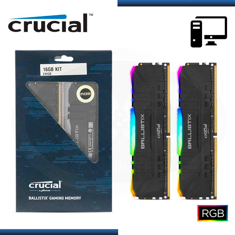 MEMORIA 16GB DDR4 (2X8GB) CRUCIAL BALLISTIX RGB BLACK DDR4 3200MHZ (PN:BL2K8G32C16U4BL)