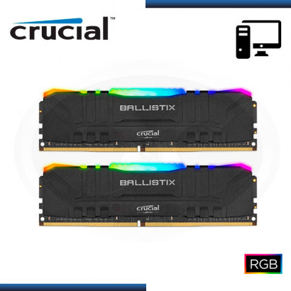 MEMORIA 32GB DDR4 (2X16GB) CRUCIAL BALLISTIX RGB BLACK DDR4 3200MHZ (PN:BL2K16G32C16U4BL)