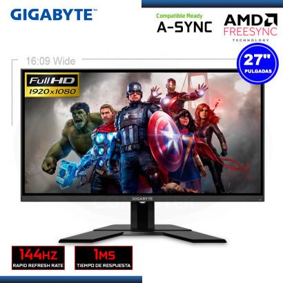 """MONITOR LED 27"""" GIGABYTE G27F GAMING 1920x1080  HDMI DP 1MS/144Hz/FREESYNC (PN:20VMO-GG27FBI-1SAR)"""