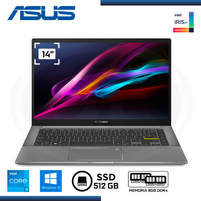 "LAPTOP ASUS VIVOBOOK S433E CI5-1135G7 14""/8GB/ SSD 512GB/ WIND 10 INDIE BLACK (PN:S433EA-AM028T)"