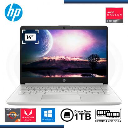 """LAPTOP HP 14-DK1025WM AMD 3 3300U 14""""/4GB/1TB/ W10 SILVER"""