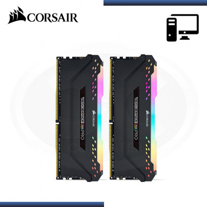 MEMORIA 16GB (2x8GB) DDR4 CORSAIR VENGEANCE RGB PRO 3200MHz BLACK (PN:CMW16GX4M2C3200C16)