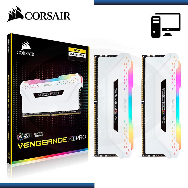 MEMORIA 16GB (2x8GB) DDR4 CORSAIR VENGEANCE RGB PRO 3200MHz WHITE (PN:CMW16GX4M2C3200C16W)