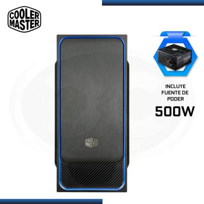 CASE COOLER MASTER MASTERBOX E500L BLUE CON FUENTE 500W ELITE V3 USB 3.0 (PN:MCB-E500L-KN5A50-S00)