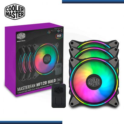 COOLER MASTER MASTERFAN MF120 HALO RGB PACKx3 120MM + CONTROLADOR COOLER PARA CASE (PN:MFL-B2DN-183PA-R1)