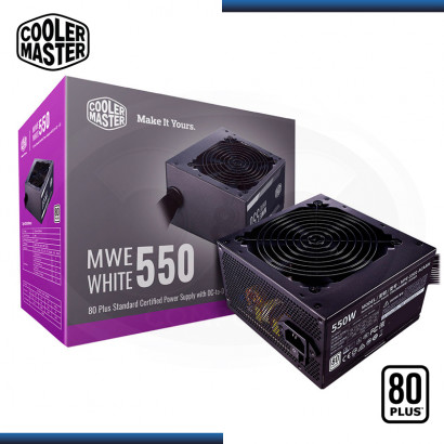 FUENTE COOLER MASTER MWE 550W 80 PLUS WHITE (PN:MPE-5501-ACAAW-US)