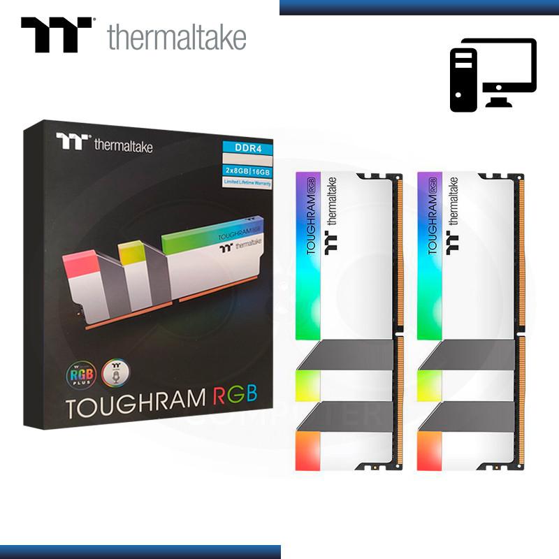 MEMORIA 16GB(2x8GB) DDR4 THERMALTAKE TOUGHRAM RGB WHITE 3600MHz (PN:R022D408GX2-3600C18A)
