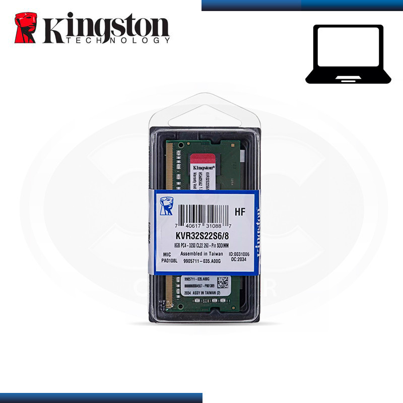 MEMORIA 8GB DDR4 KINGSTON KVR SODIMM BUS 3200MHZ (PN:KVR32S22S6/8)