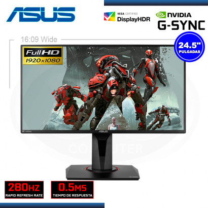 "MONITOR LED 24.5"" ASUS VG258QM TUF GAMING 1920x1080 HDMI DP 0.5MS/280Hz/G-SYNC (PN:90LM0450-B023B0)"