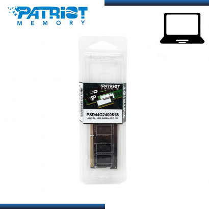MEMORIA 4GB DDR4 PATRIOT SODIMM BUS 2400Mhz (PN:PSD44G240081S)