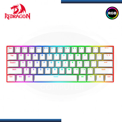 TECLADO REDRAGON DRAGONBORN K630W-RGB WHITE MECANICO 60% SWITCH BROWN