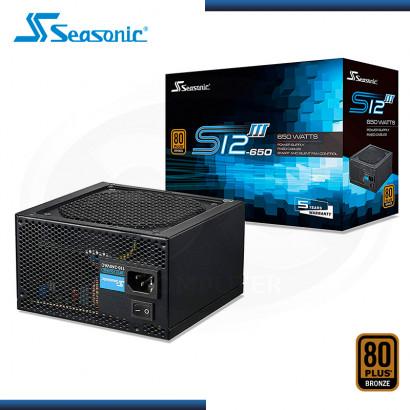 FUENTE SEASONIC S12III 650W 80PLUS BRONZE (PN:SSR-650GB3)