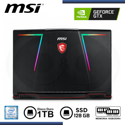 "LAPTOP MSI GE63 RAIDER RGB 8RE GEFORCE GTX 1060 6GB - CI7 8750H / 15.6"" / 16GB /1TB / SSD128GB"