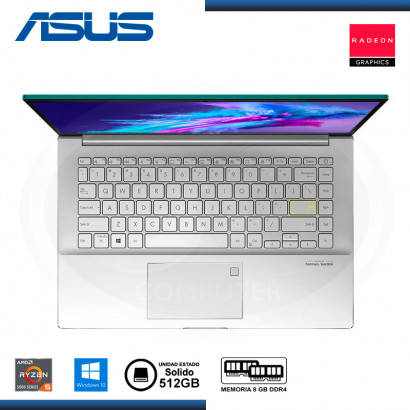 "LAPTOP ASUS VIVOBOOK S14 M433UA-EB045T AMD RYZEN 5 5500U 14""/8GB/SSD 512GB/WIN 10 GAIA GREEN (PN:90NB0TM2-M01830)"