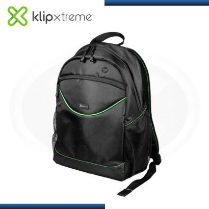 """MOCHILA KLIP XTREME SLIM BLACK GREEN PARA LAPTOP 15.6"""" (PN:KNB-050)"""