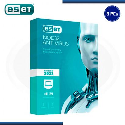 ESET NOD32 ANTIVIRUS 2021 3 PCs 12 MESES (PN:S11010188)