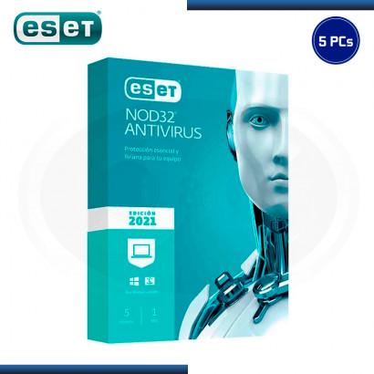 ESET NOD32 ANTIVIRUS 2021 5 PCs 12 MESES (PN:S11010189)