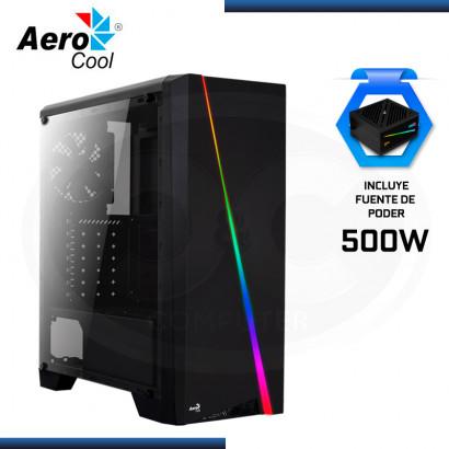 CASE AEROCOOL CYLON VIDRIO TEMPLADO + FUENTE PODER CYLON 500W RGB 80 PLUS WHITE