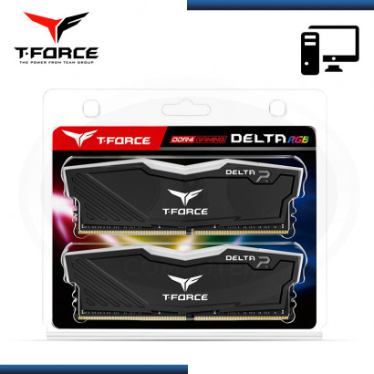 MEMORIA 32GB (2x16) DDR4 T-FORCE DELTA RGB BUS 3200MHZ BLACK (PN:TF3D432G3200HC16CDC01)