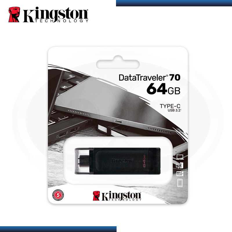 MEMORIA USB-C 64GB KINGSTON DATA TRAVELER 70 V 3.2 BLACK (PN:DT70/64GB)