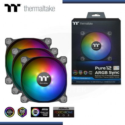 THERMALTAKE PURE 12 ARGB SYNC 120MM PACKx3 COOLER PARA CASE (PN:CL-F079-PL12SW-A)