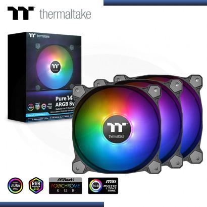 THERMALTAKE PURE 14 ARGB SYNC 140MM PACKx3 COOLER PARA CASE (PN:CL-F080-PL14SW-A)