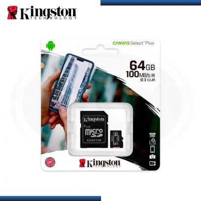 MEMORIA 64GB KINGSTON MICRO SD CANVAS SELECT PLUS (PN:SDCS2/64GB)