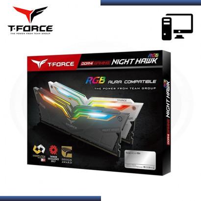 MEMORIA 16GB (2x8GB) DDR4 T-FORCE NIGHT HAWK WHITE RGB 3200MHz (PN:TF2D416G3200HC16CDC01)