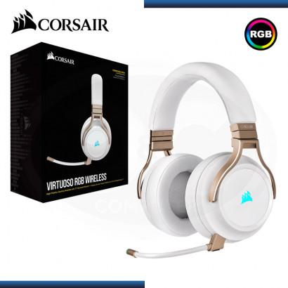 AUDIFONO CORSAIR VIRTUOSO RGB CON MICROFONO PEARL WIRELESS (PN:CA-9011224-NA)