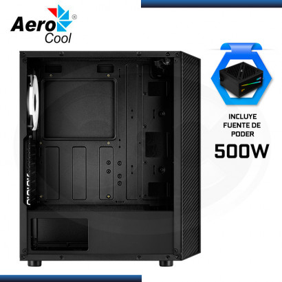 CASE AEROCOOL HIVE VIDRIO TEMPLADO FAN ARGB (x3) + FUENTE AEROCOOL CYLON 500W RGB 80 PLUS WHITE (REF:0- 67286)