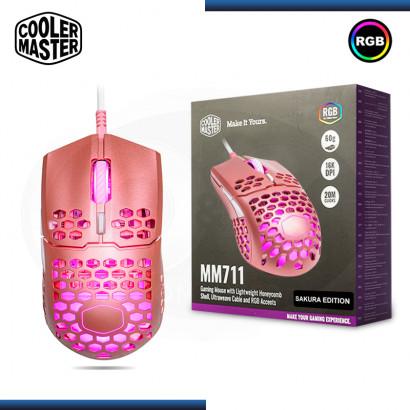 MOUSE COOLER MASTER MM711 SAKURA PINK RGB GAMING (PN:MM-711-MP0L1)