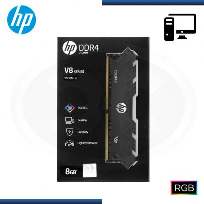 MEMORIA 16GB DDR4 HP V8 RGB CON DISIPADOR BLACK BUS 3600MHZ