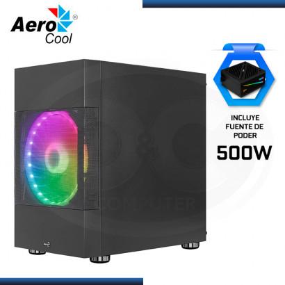 C&C COMBO : CASE AEROCOOL ATOMIC G-BK-V2 ARGB VIDRIO TEMPLADO + FUENTE AEROCOOL CYLON 500W RGB 80 PLUS WHITE