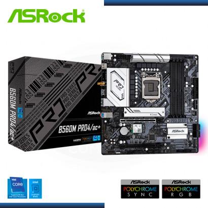 MB ASROCK B560M PRO4/ac+ DDR4 LGA 1200 (PN:90-MXBGG0-A0UAYZ)