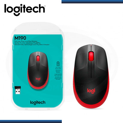 MOUSE LOGITECH M190 FULL-SIZE RED WIRELESS (PN:911-005904)