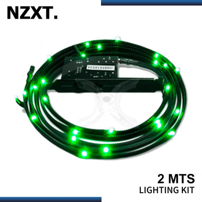 KIT CABLE LED NZXT SLEEVED 2MTS GREEN (PN:CB-LED20-GR)