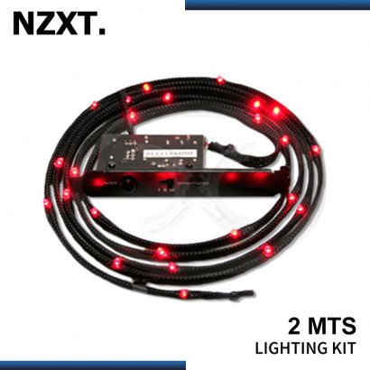 KIT CABLE LED NZXT SLEEVED 2MTS RED (PN:CB-LED20-RD)