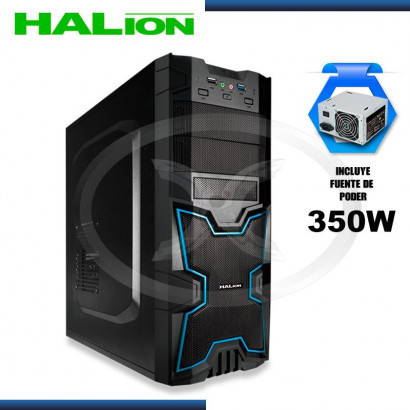CASE HALION GAMER X-MAN 3313BB AZUL 350W REAL,USB 3.0