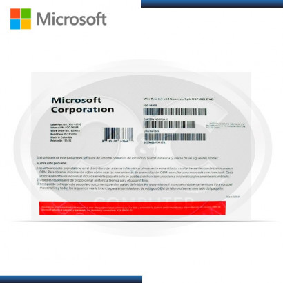 MICROSOFT WINDOWS 10 PROFFESIONAL 64BIT SPANISH OEM / FQC-08981